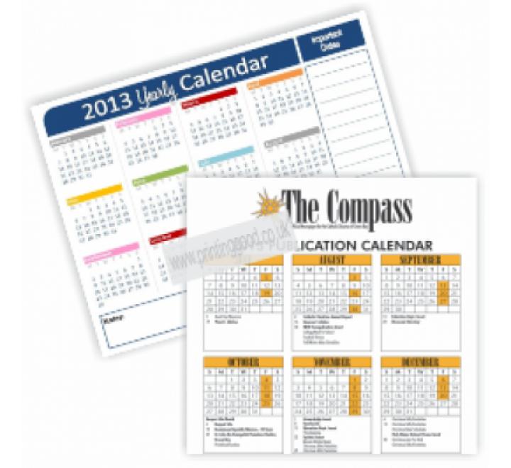 1 Page Calendar Printing